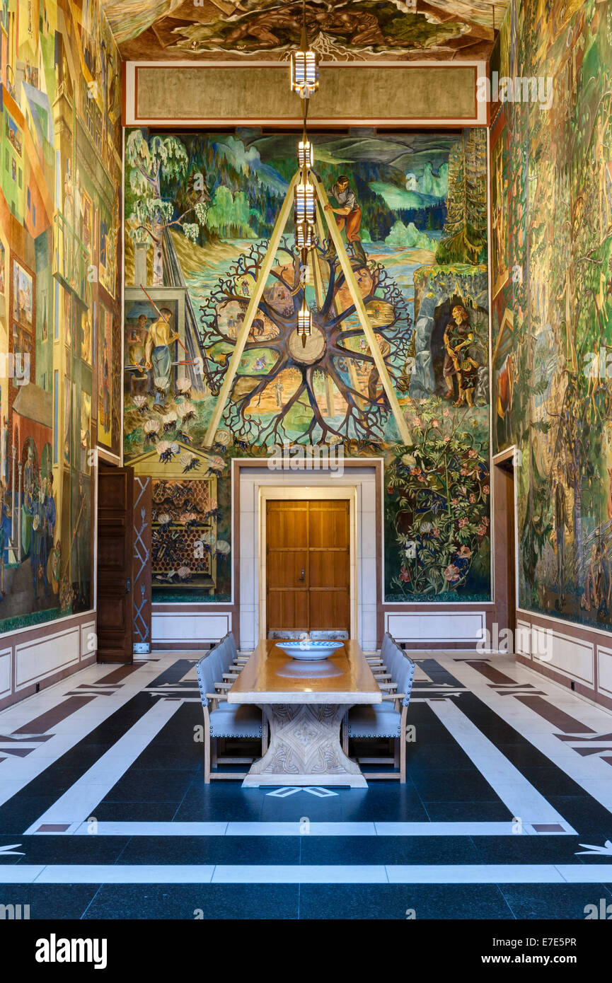 The City Hall (Radhus), Oslo, Norway. The East Gallery, frescoed by Per Krohg on the theme of the City and the Country Stock Photo