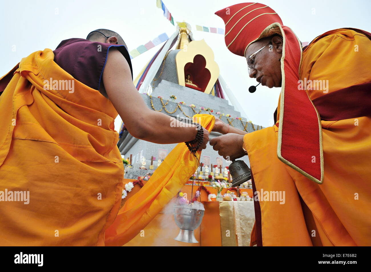 Tenovice, Czech Republic. 14th Sep, 2014. Tenovice Buddhists unveiled their first building in the country in Tenovice, - Stock Image