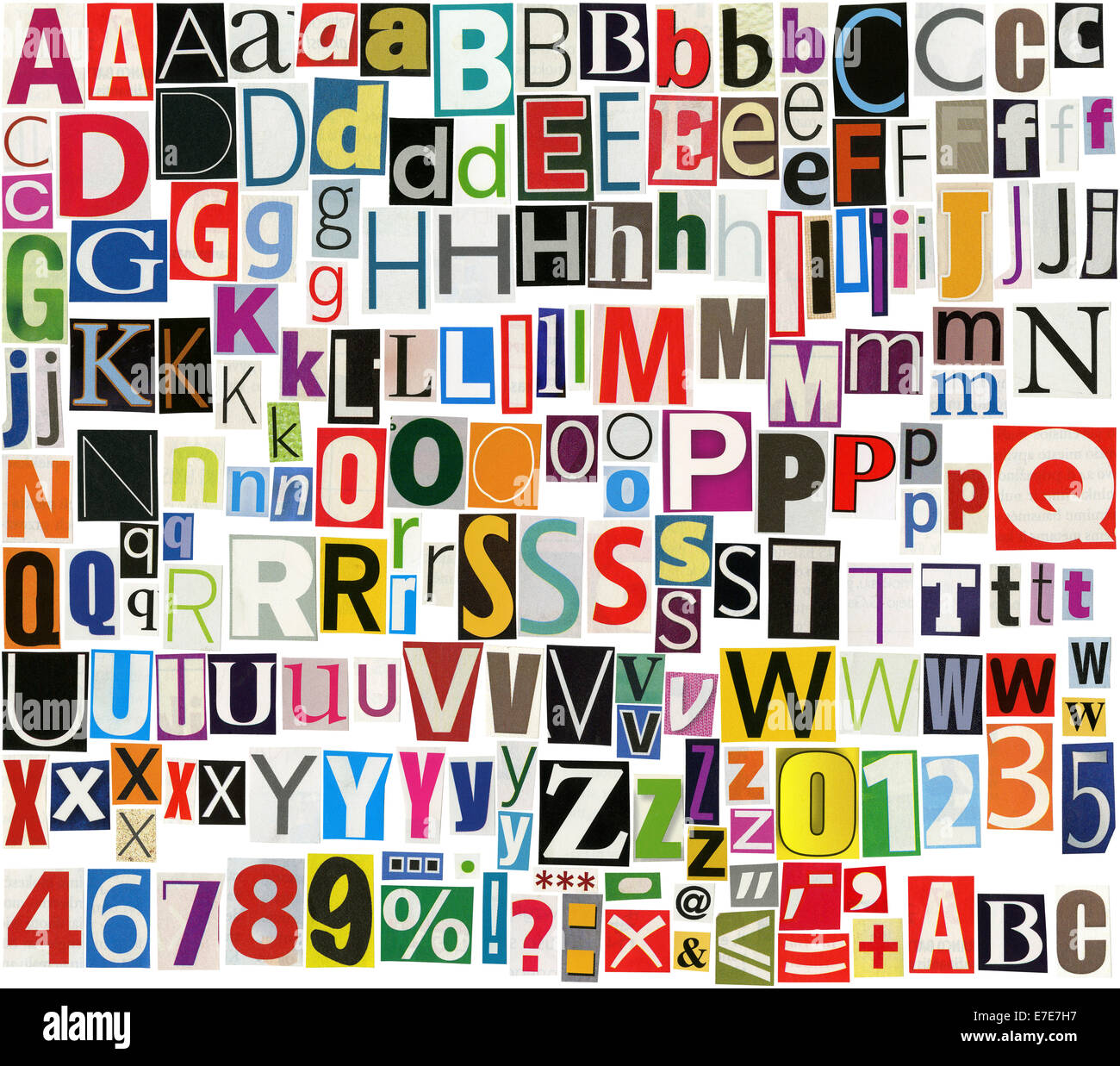 Cut newspaper magazine letters numbers stock photos cut newspaper big size newspaper magazine alphabet with letters numbers and symbols stock image spiritdancerdesigns Images