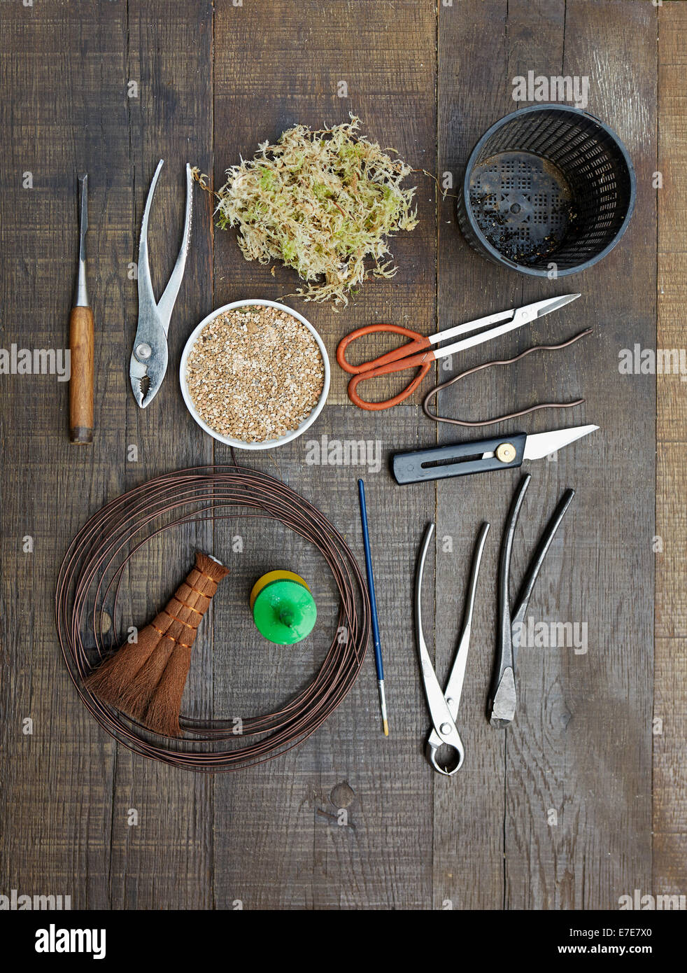 Bonsai Tools Pliers Wire Concave Cutters Branch Cutters Knife Stock Photo Alamy