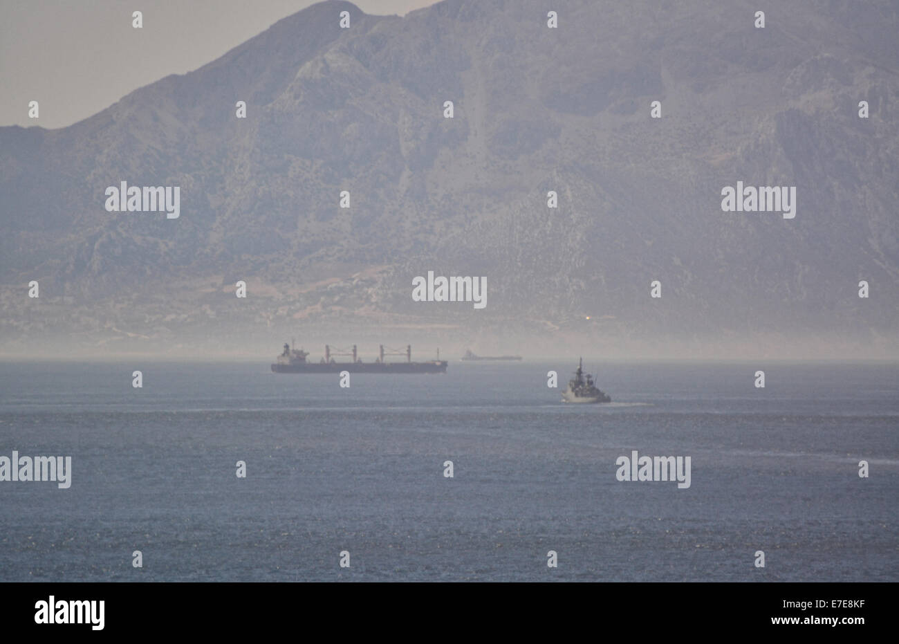 Gibraltar. 15th Sep, 2014. A Spanish naval frigate made an  unauthorised incursion into British Gibraltar Territorial - Stock Image