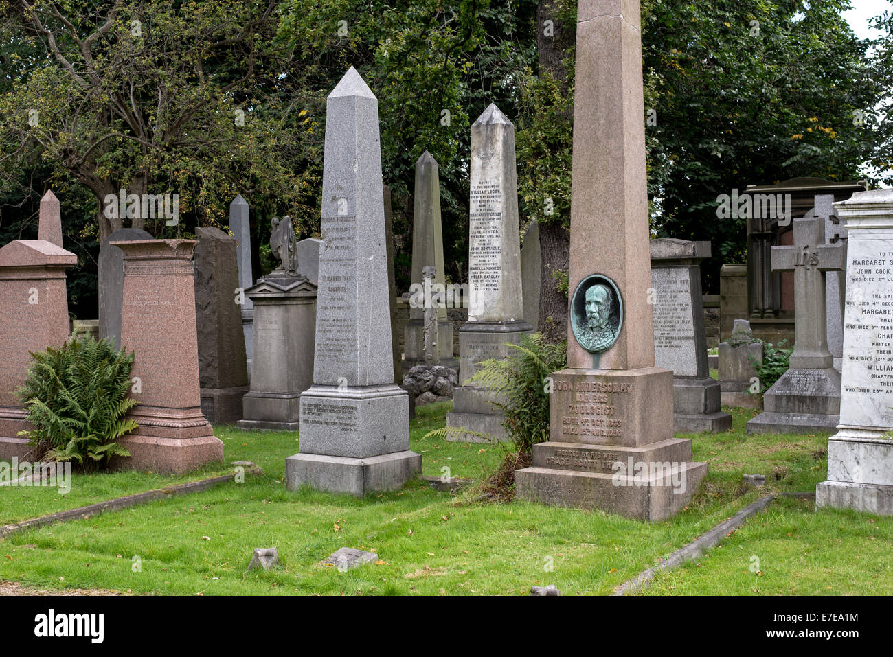 A selection of memorials in the Dean Cemetery including that of John Anderson (1833-1900) anatomist and zoologist. - Stock Image
