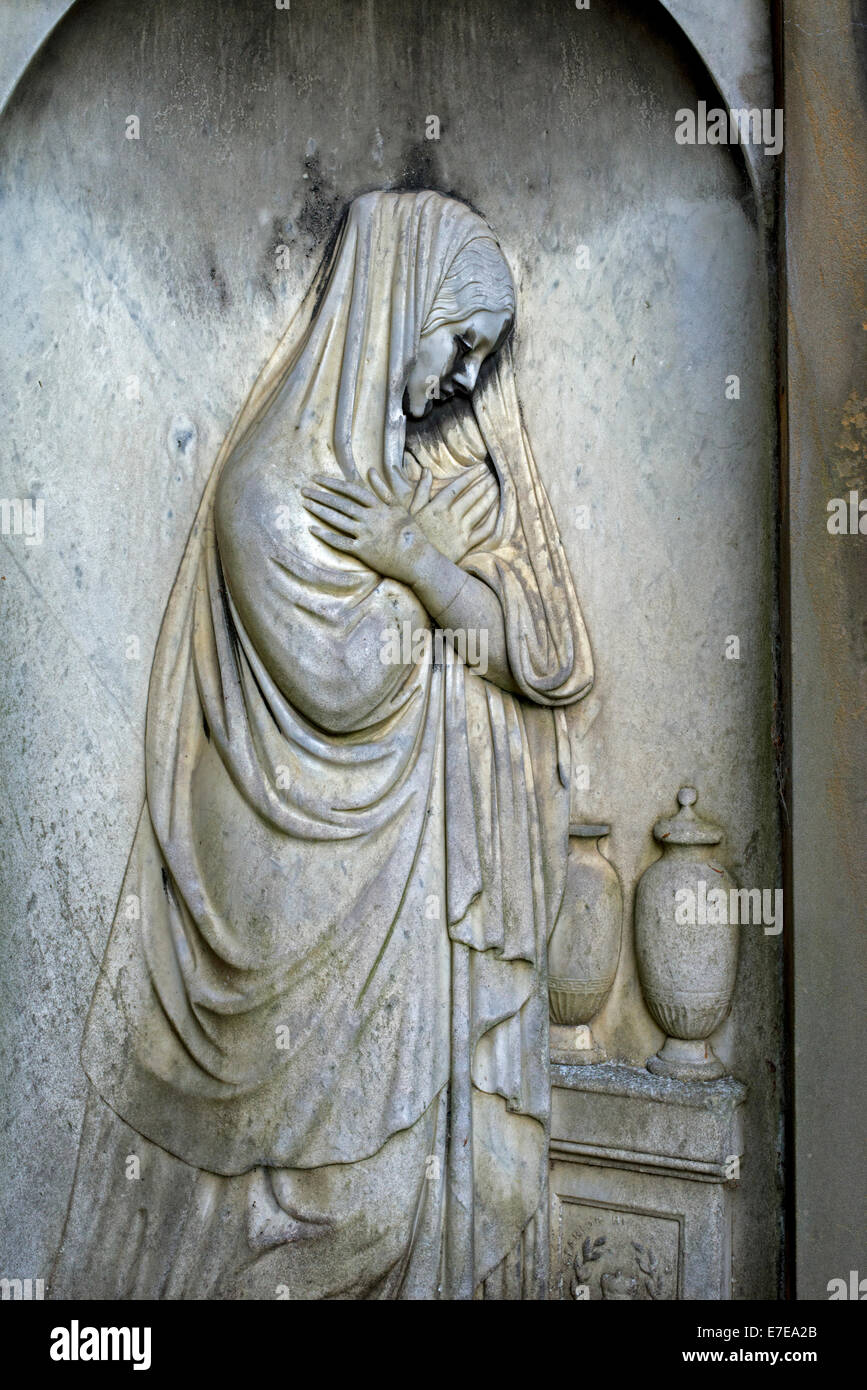 Marble bas relief of a woman in mourning, detail from the Buchanan Memorial in Dean Cemetery, Edinburgh, Scotland. - Stock Image