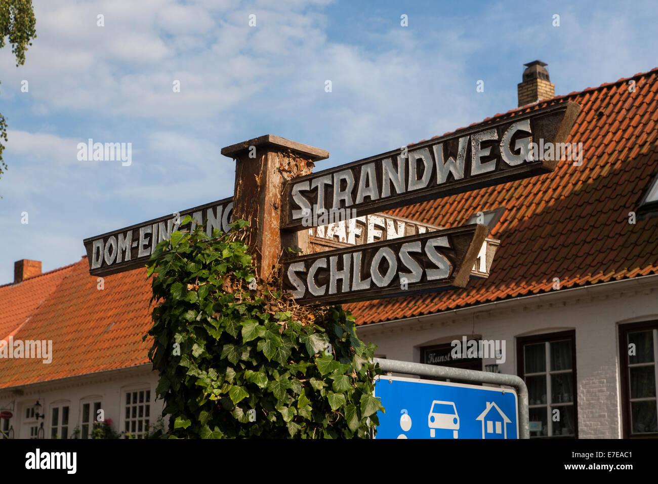 street signs in schleswig, schleswig-flensburg district, schleswig-holstein, germany - Stock Image