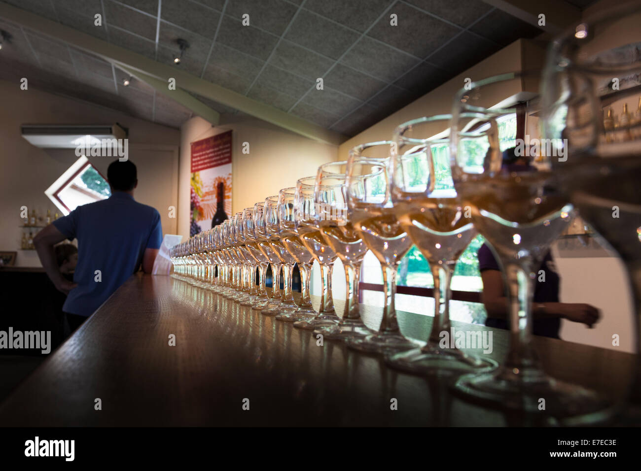 Glasses lined up for wine tasting at Chateau de Monbazillac France - Stock Image