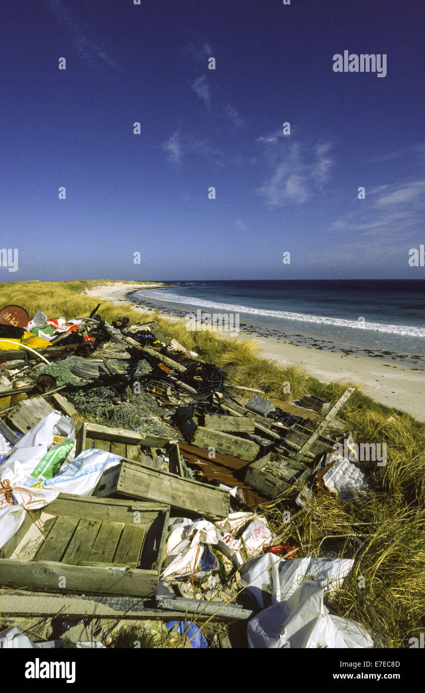 RUBBISH DUMP BESIDE AN ORKNEY BEACH SCOTLAND WITH SEALS RESTING ON THE SANDS - Stock Image