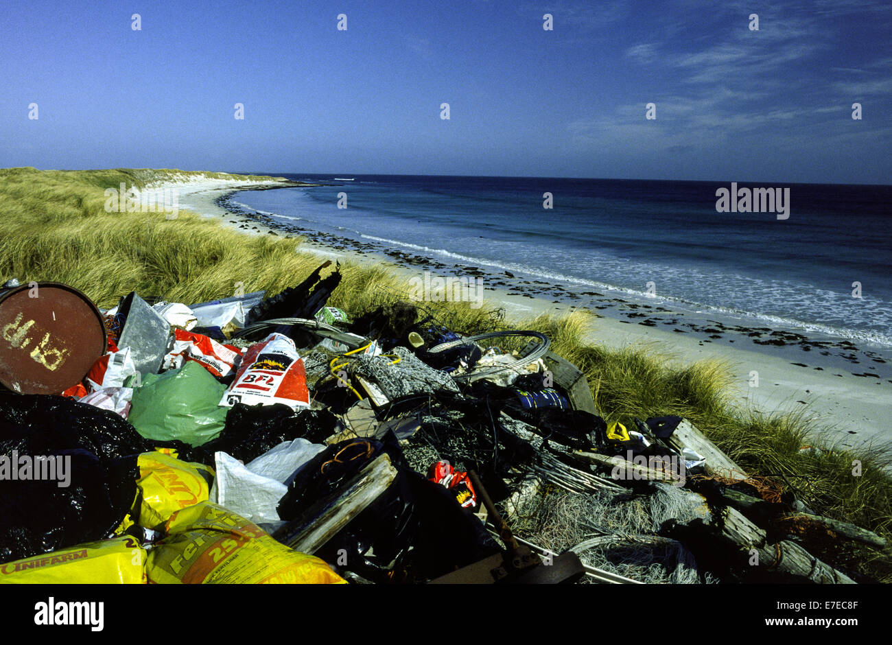 RUBBISH DUMPED ON AN ORKNEY BEACH DOTTED WITH SEALS SCOTLAND - Stock Image