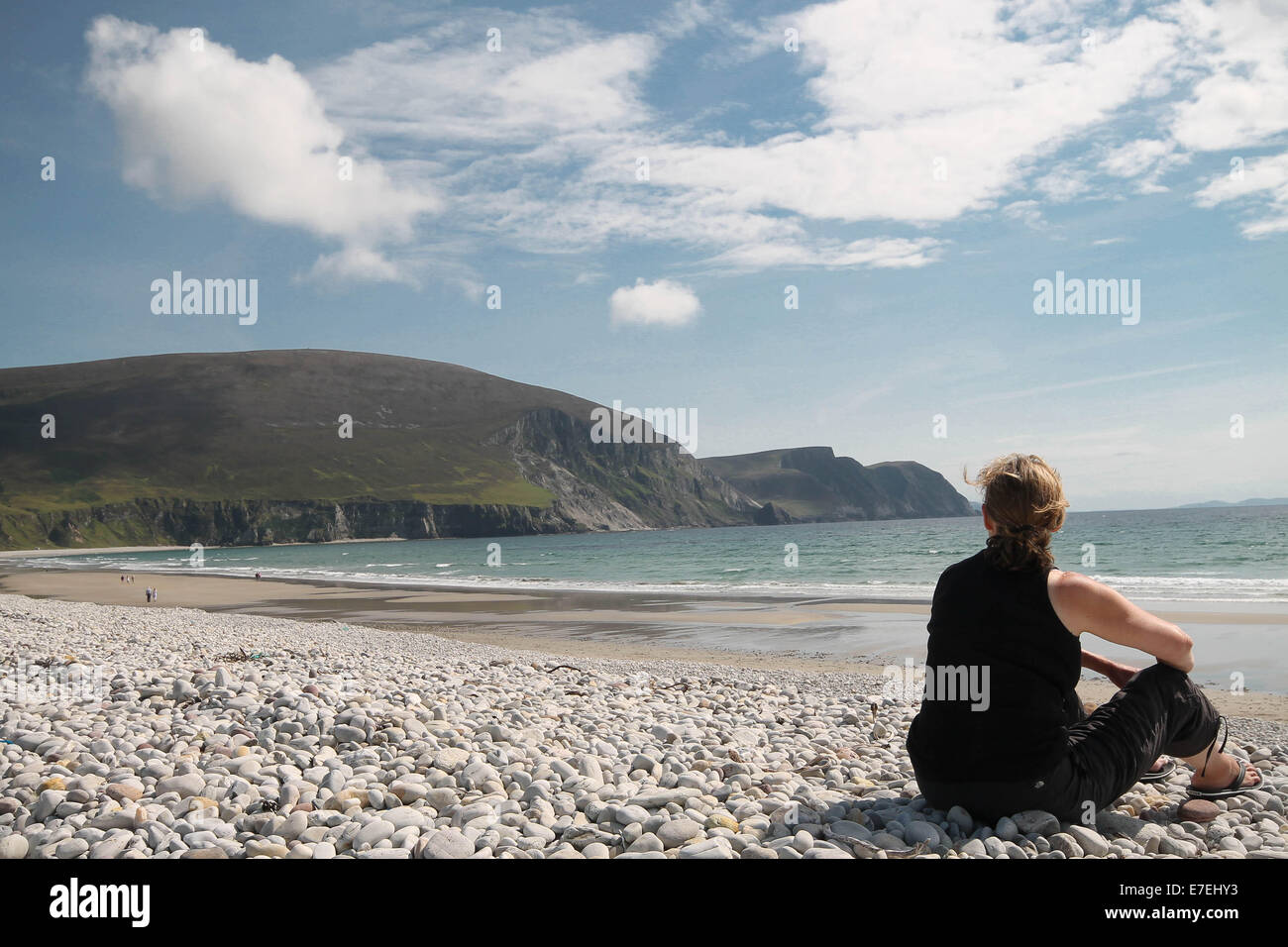 Myself overlooking Minaun Heights at Keel Beach, Achill Island, Ireland. - Stock Image