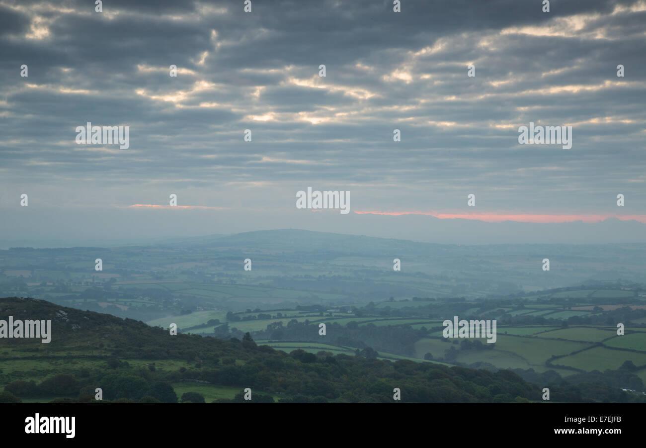 Sunrise over Sharptor. - Stock Image