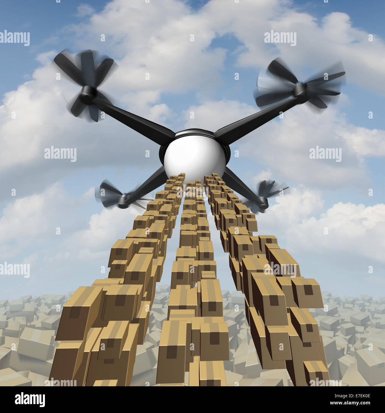 Drone cargo delivery concept  as an unmanned quadrocopter shipping packages and freight as a symbol of the future - Stock Image