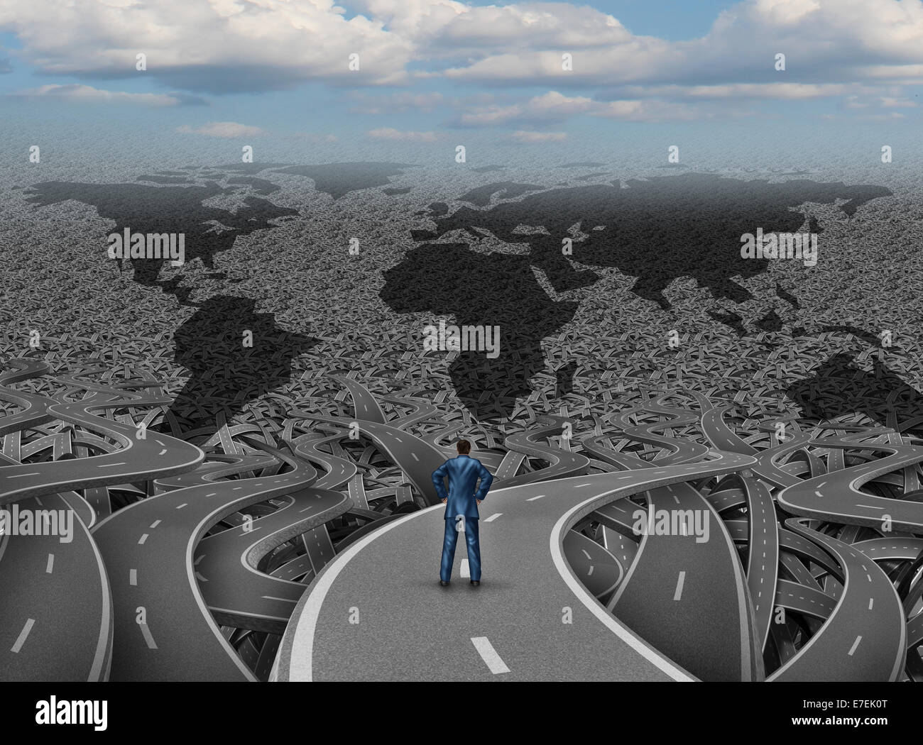 Global direction and world businessman road concept as a group of tangled highways with a confused man standing - Stock Image