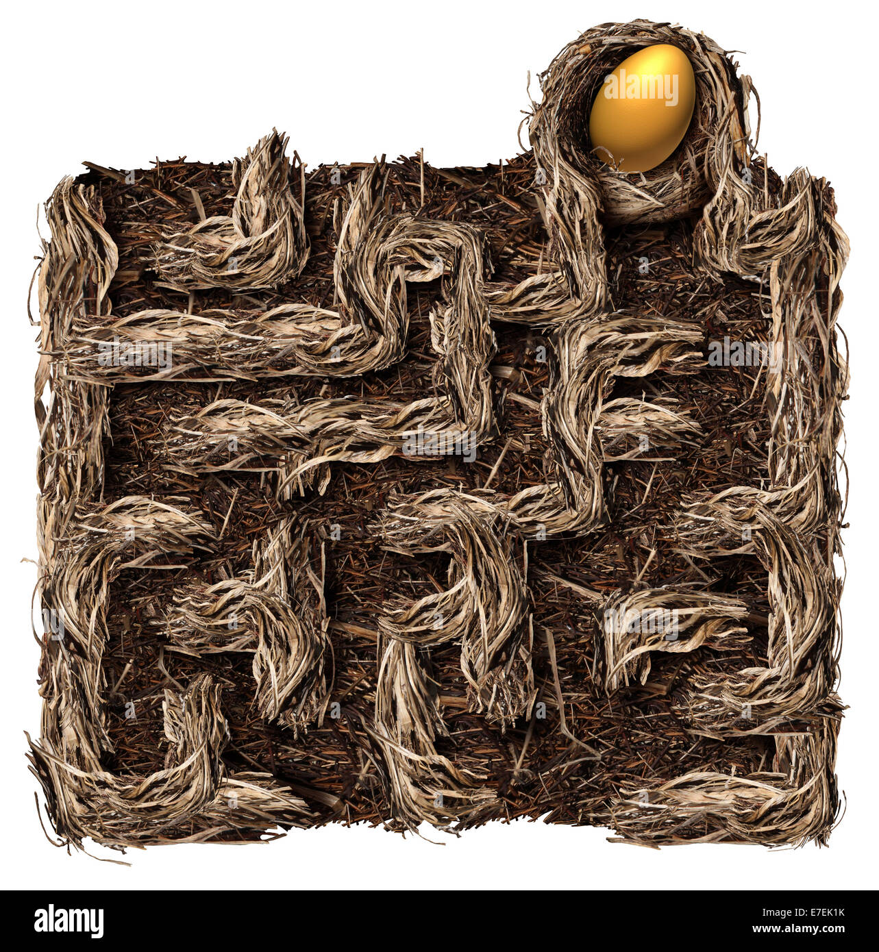 Retirement savings strategy nest egg symbol as a financial planning business concept with a bird nest shaped as - Stock Image