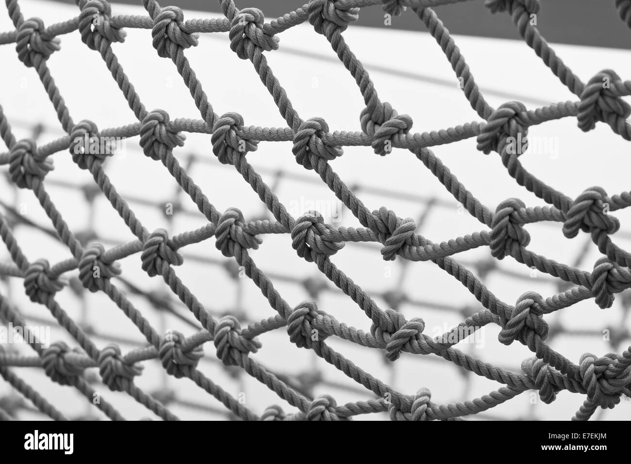 Yacht Safety Net Close Up. Horizontal black and white shot - Stock Image