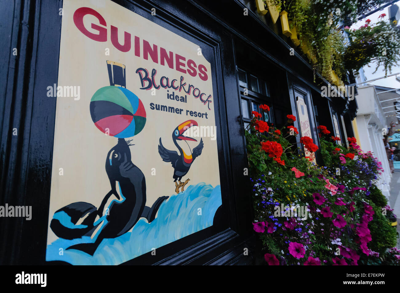 Sign for Guinness outside a pub in Blackrock, Ireland - Stock Image