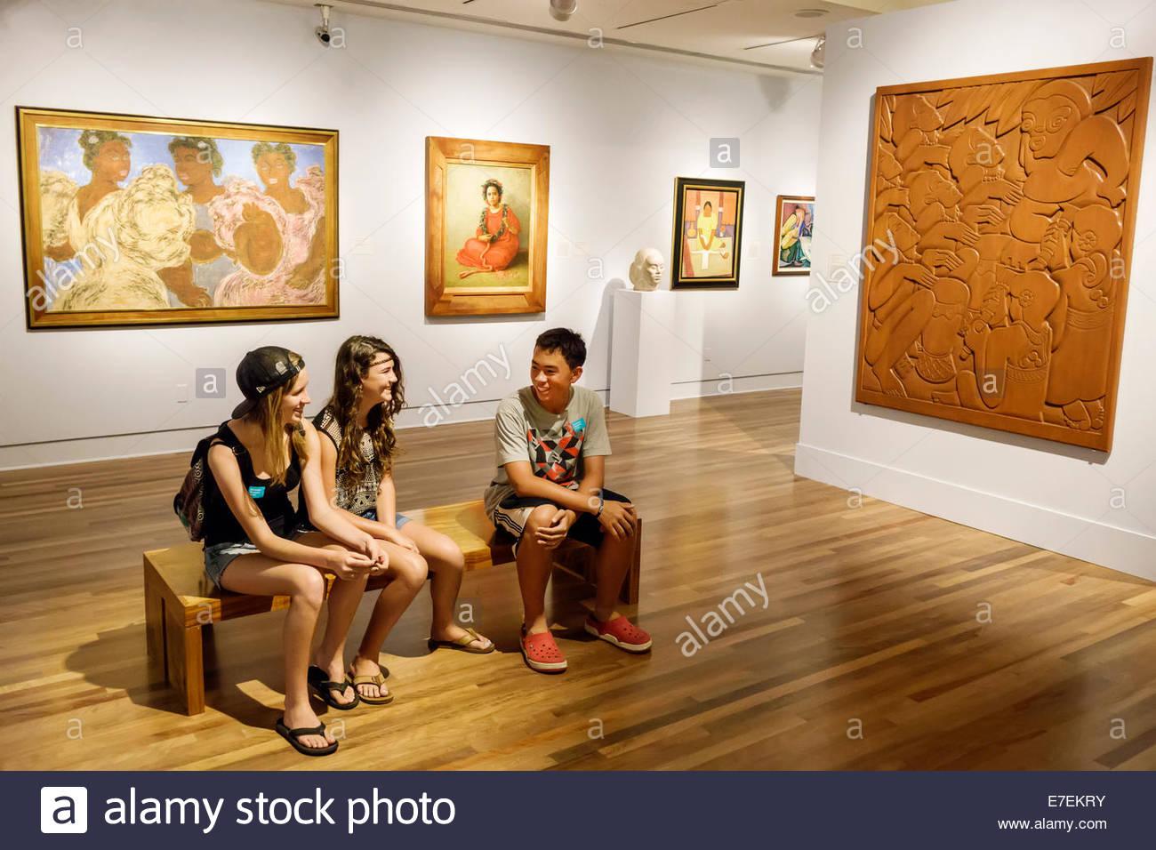 Hawaii Hawaiian Honolulu Museum Of Art Inside Interior Paintings Gallery Teen Asian Boy Girl Friends