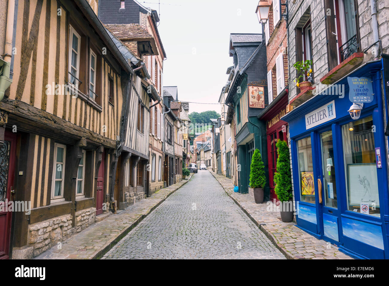 Quiet Backstreet in Honfleur Normandy France - Stock Image