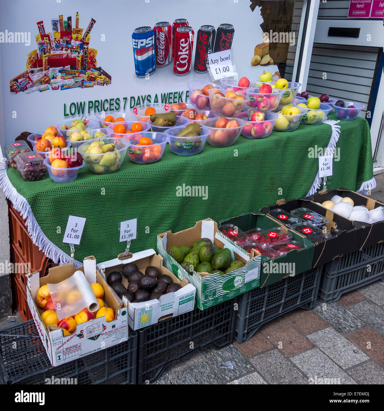 Fresh Fruit and Vegetables Stall Greengrocers Mediterranean Food Stock Photo