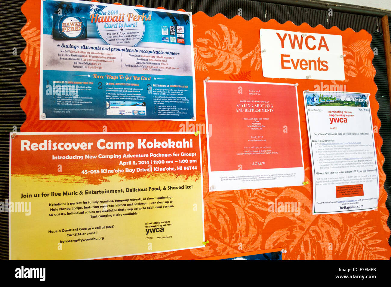 Hawaii Oahu Hawaiian Honolulu Young Women's Christian Association YWCA bulletin board community events announcements - Stock Image