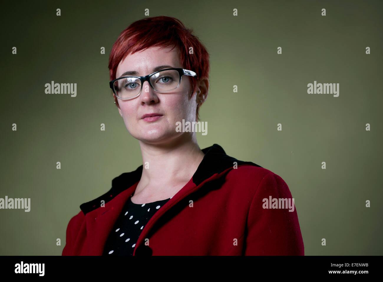 Novelist, short fiction writer, editor and teacher Kirsty Logan appears at the Edinburgh International Book Festival. - Stock Image