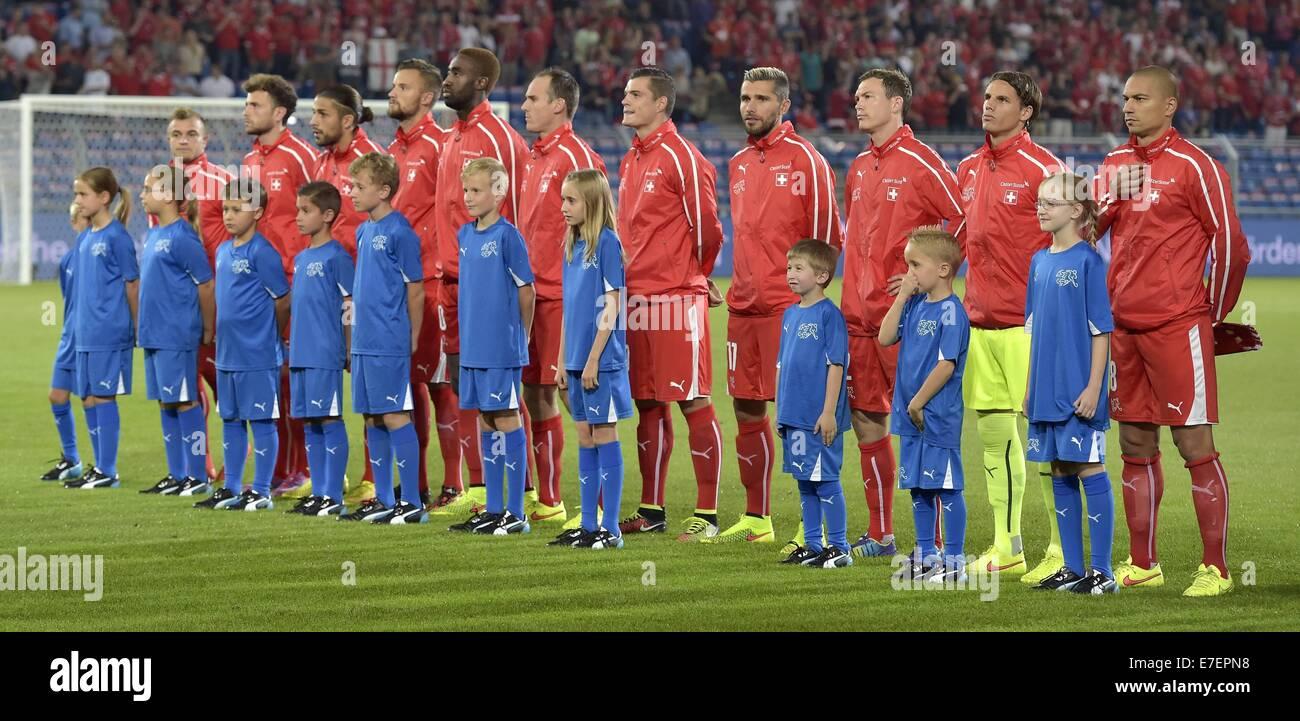 Basel, Switzerland. 08th Sep, 2014. Euro 2016 qualification football. Switzerland versus England. Swiss team line - Stock Image