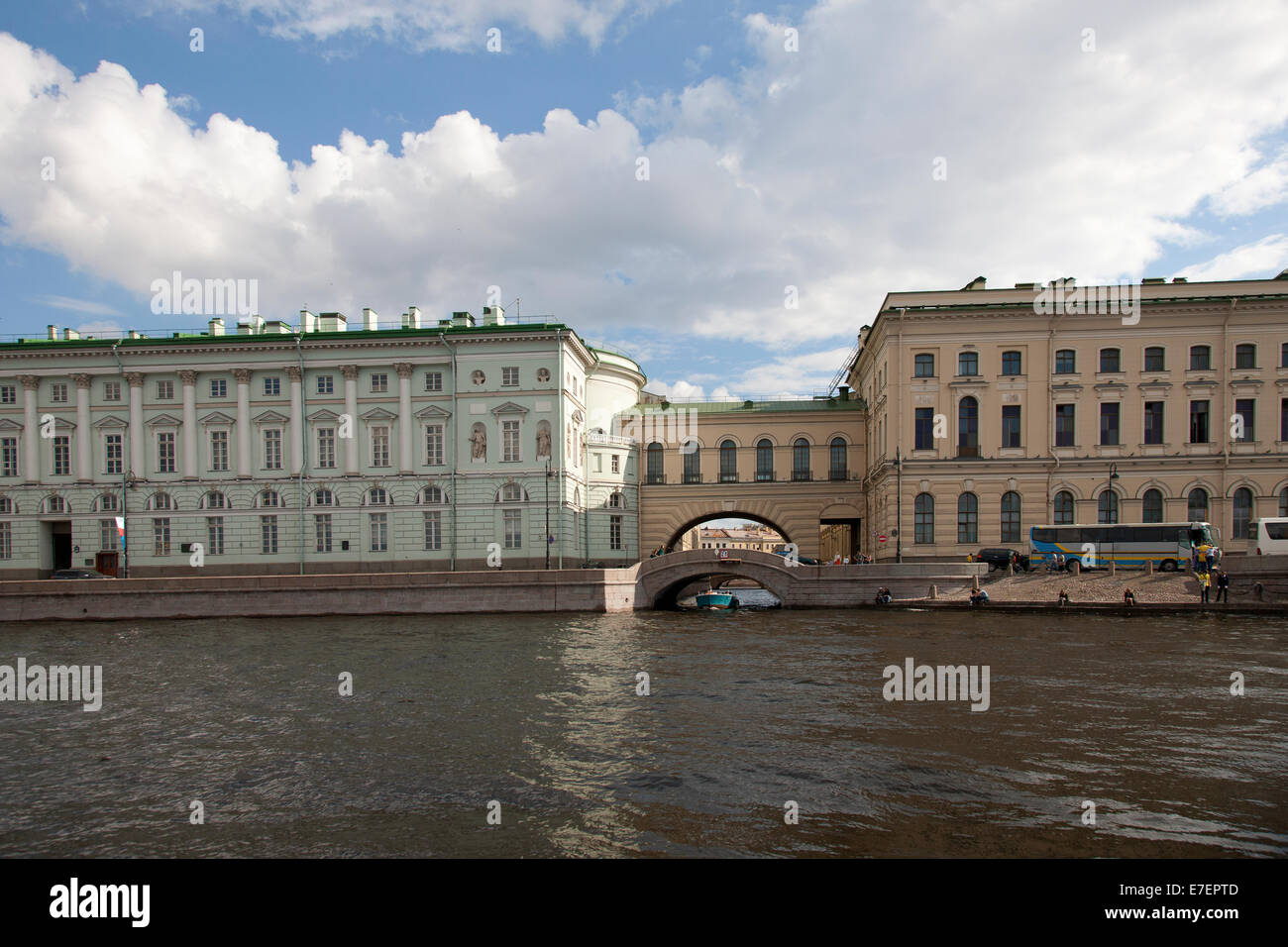 A small Canal Separates Buildings along the Neva River, St. Petersburg - Stock Image