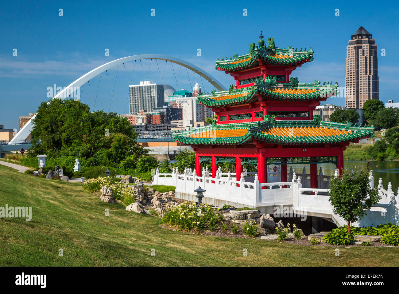 the chinese cultural center of america pagoda and downtown skyline