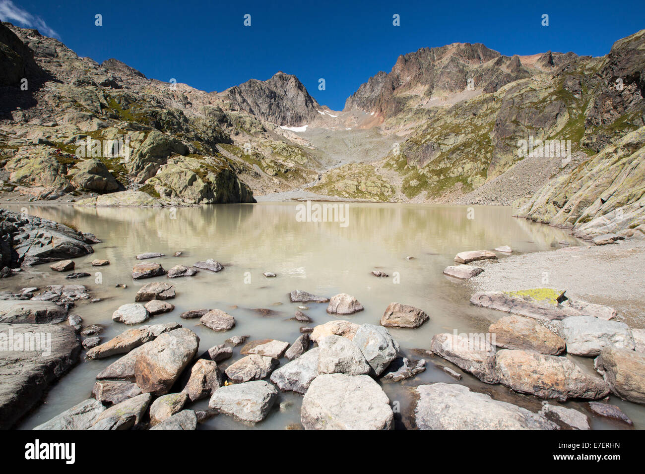 Lac Blanc on the Aiguille rouge above Chamonix, France. - Stock Image