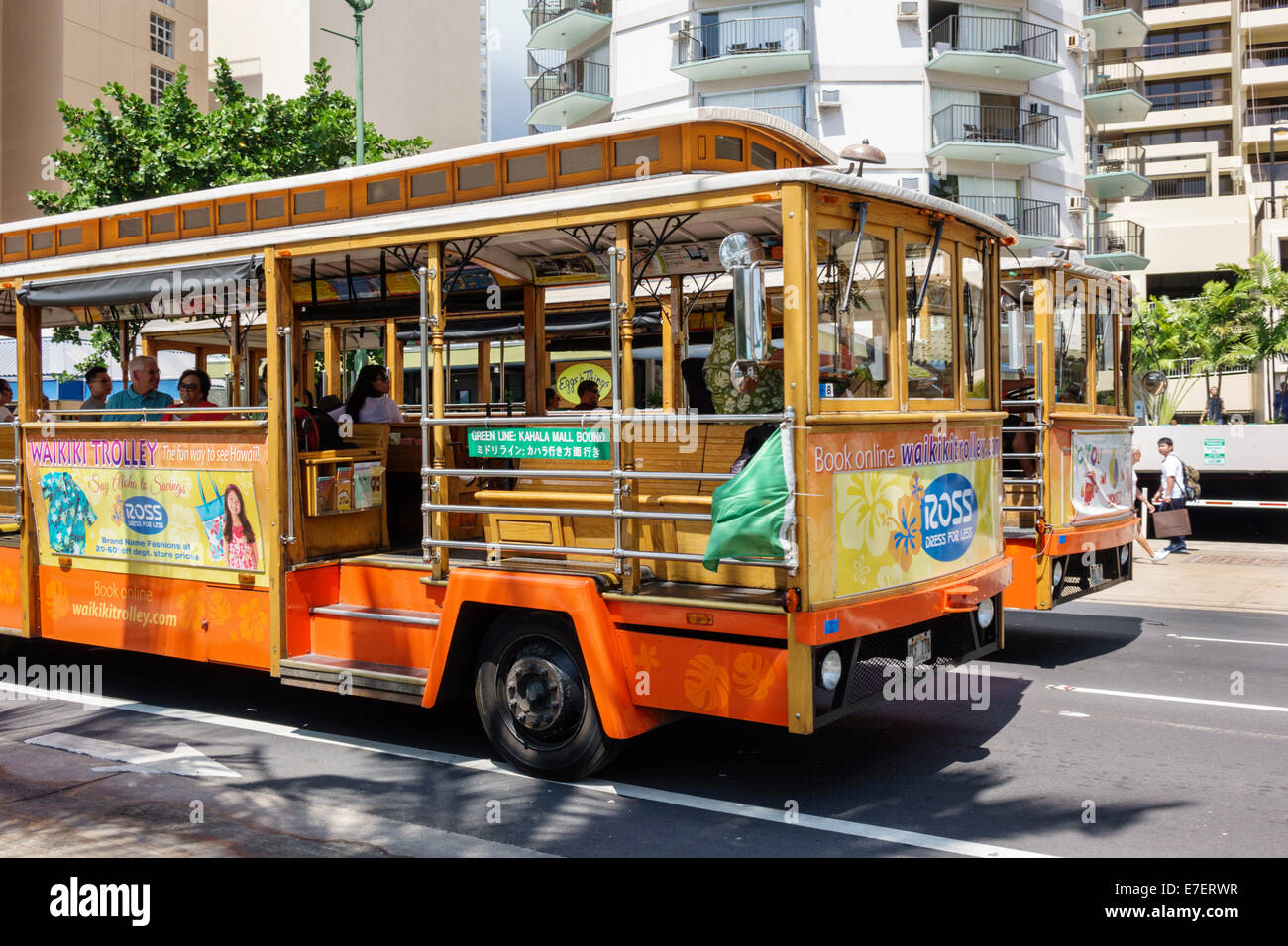 Waikiki Beach Honolulu Hawaii Hawaiian Oahu Kalakaua Avenue Waikiki Trolley transportation - Stock Image