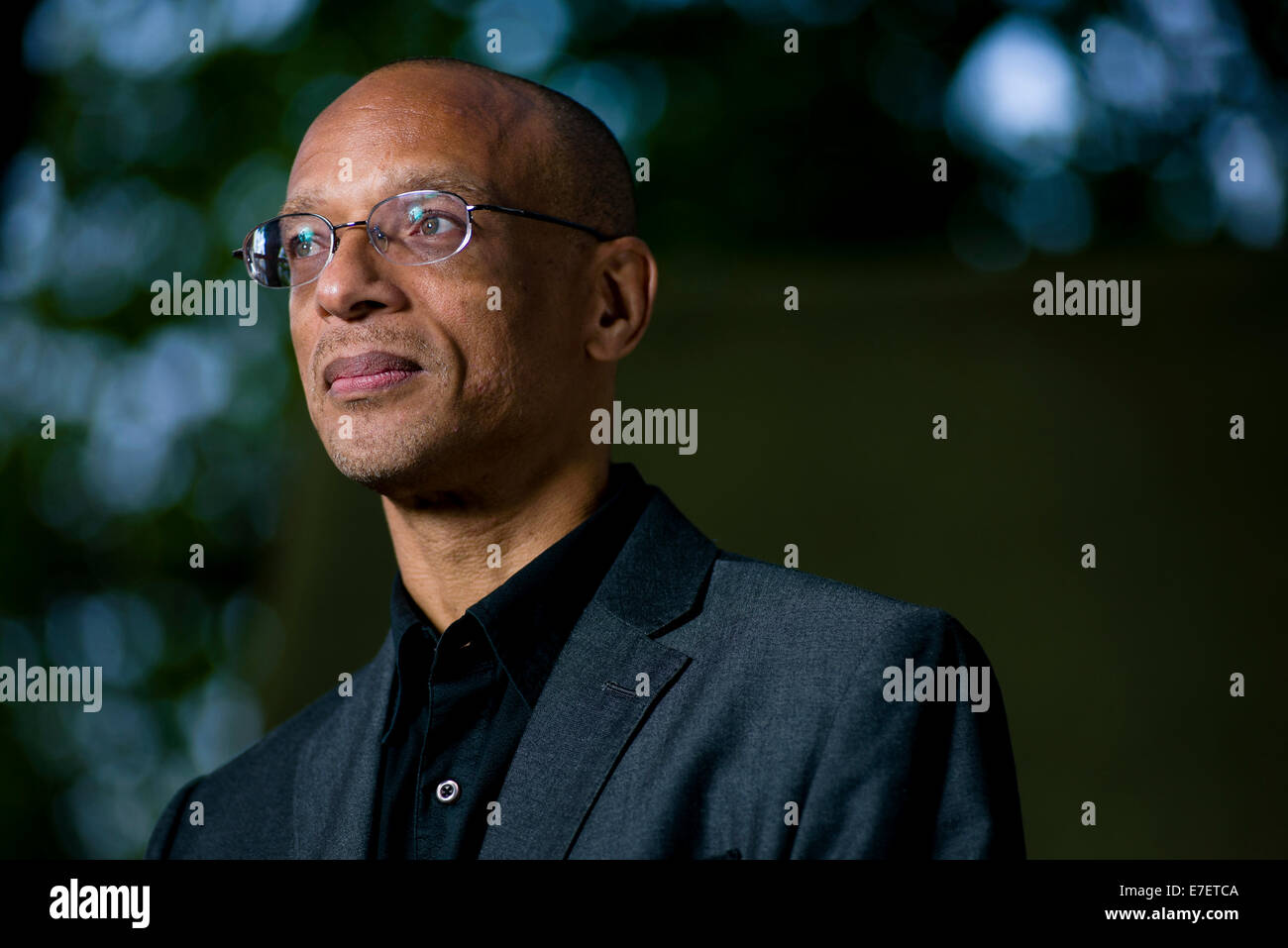 British-Guyanese poet, novelist and playwright Fred D'Aguiar appears at the Edinburgh International Book Festival. - Stock Image
