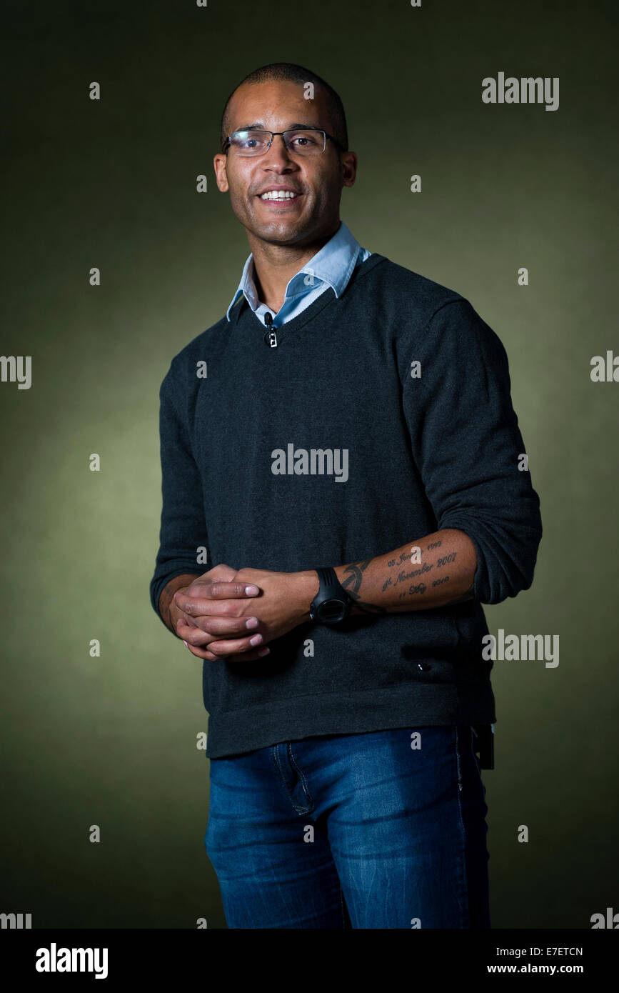 English former professional footballer Clarke Carlisle appears at the Edinburgh International Book Festival. - Stock Image