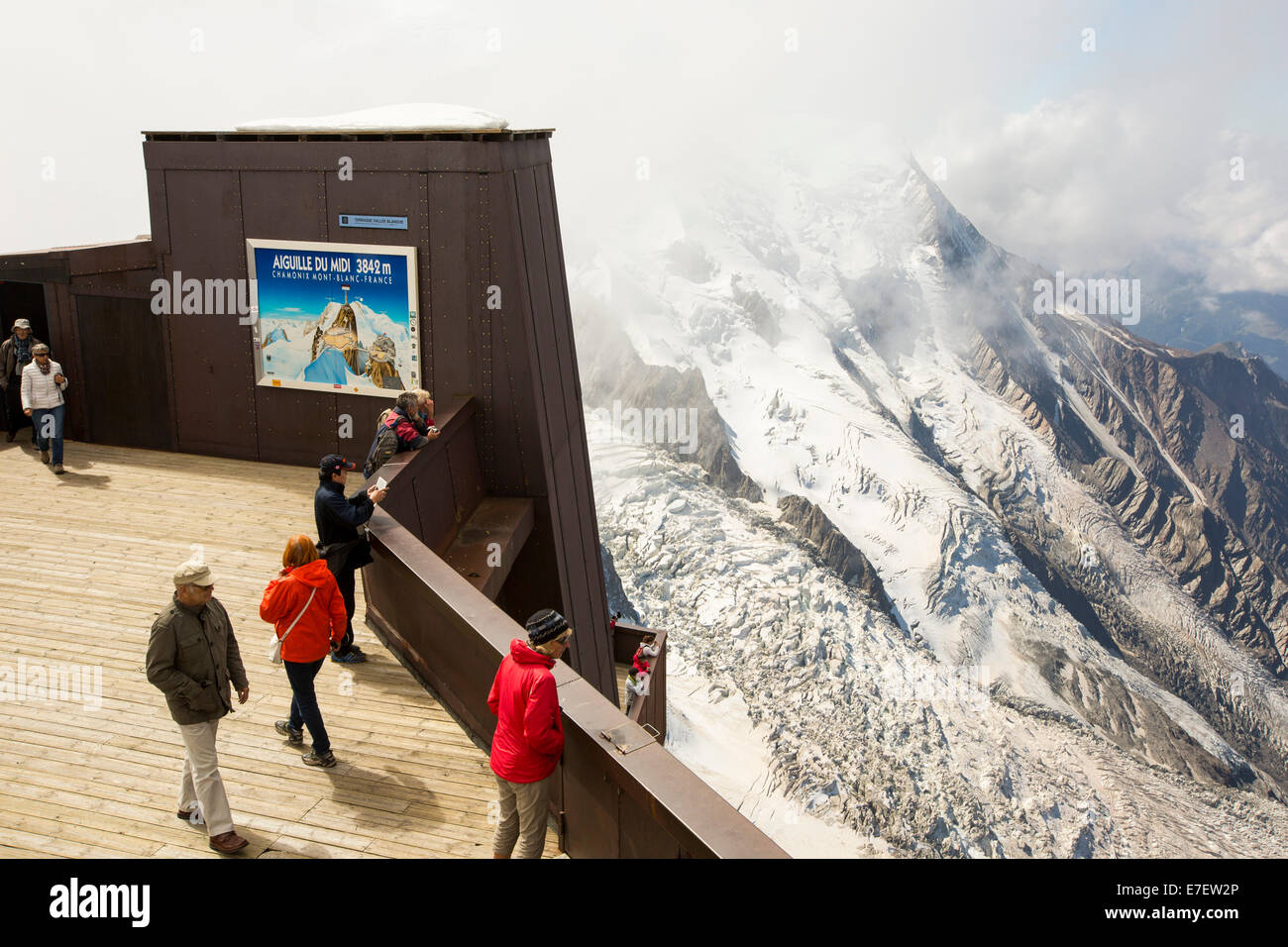 Mont Blanc from the Aiguille Du Midi above Chamonix, France. - Stock Image