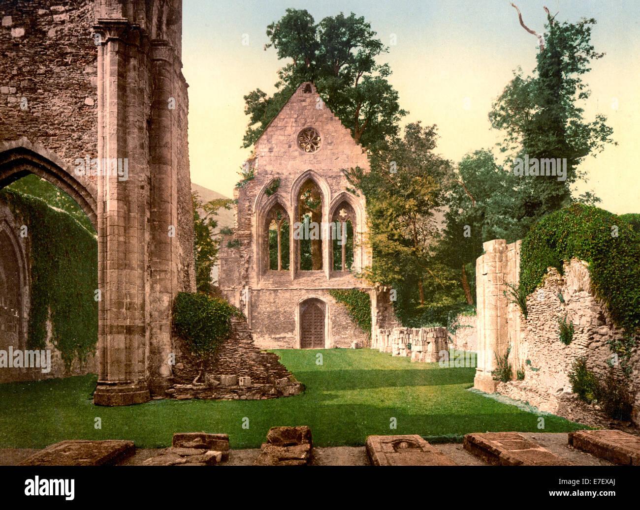 Valle Crucis Abbey, interior looking west, Llangollen, Wales, circa 1900 Stock Photo