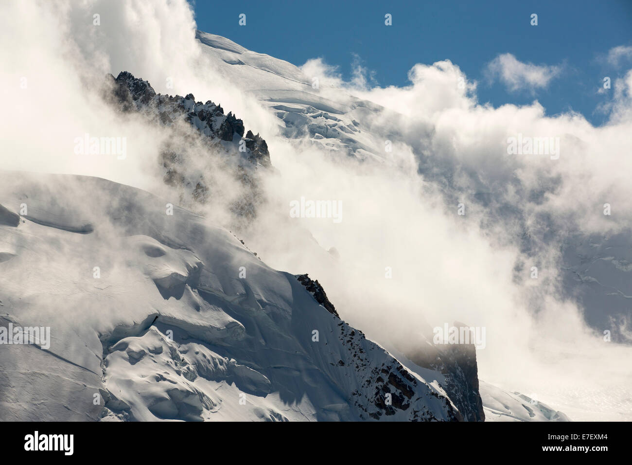 Mont Blanc and the Bossons glacier from the Aiguille Du Midi, France. Stock Photo