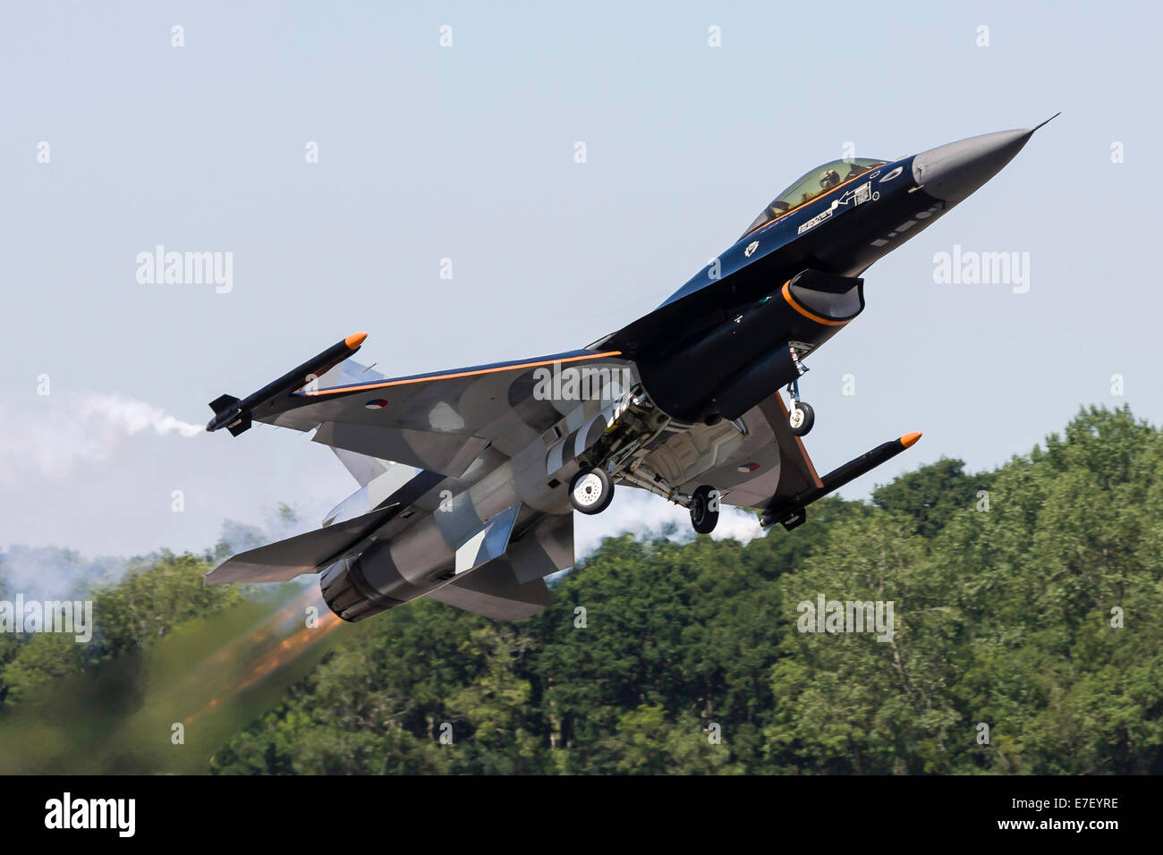 A Royal Netherlands Air Force F-16AM takes off at RAF Fairford, England. Stock Photo