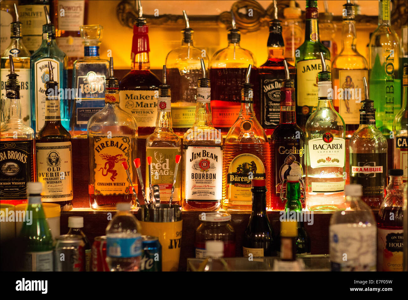 Liquor shelf in a restaurant Stock Photo: 73473509 - Alamy