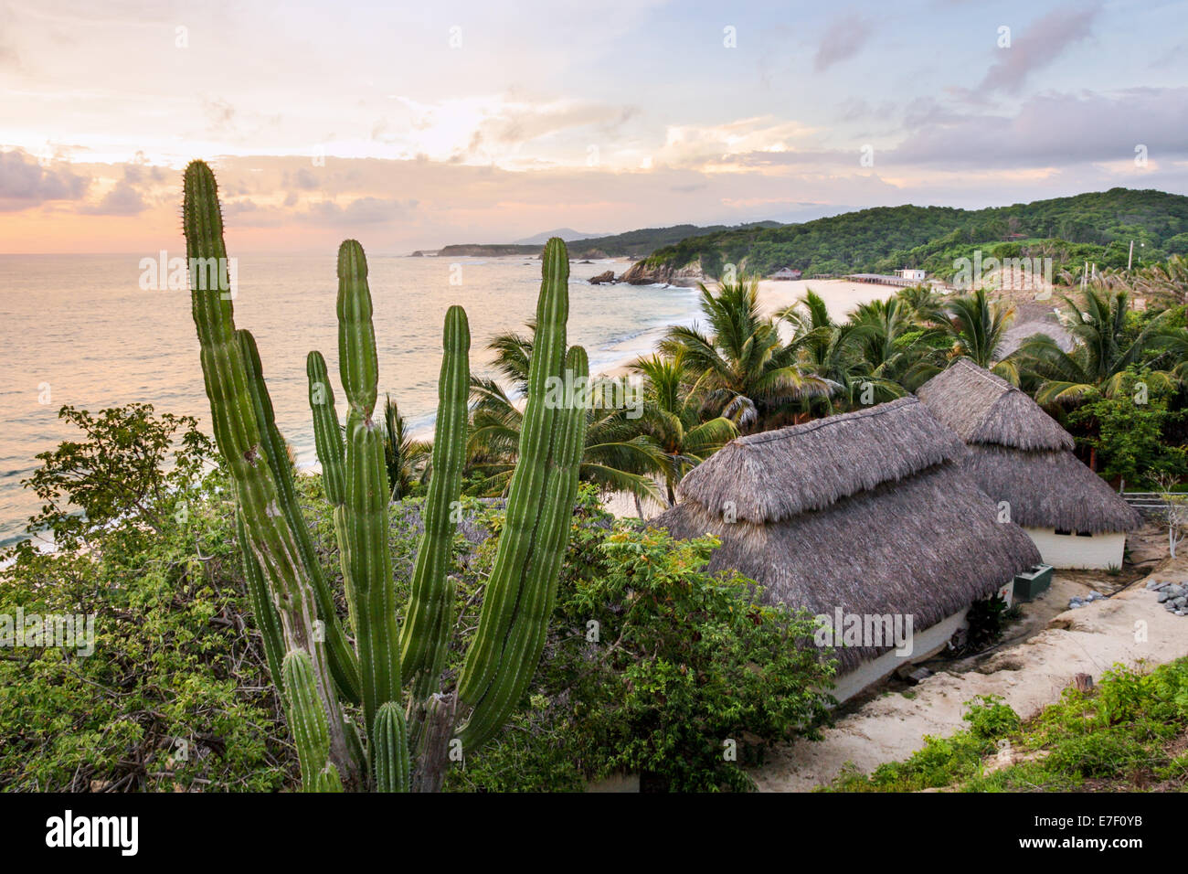 Manzanillera Beach at sunset near the Olive Ridley sea turtle nesting grounds on the Pacific Coast of Michoacan, - Stock Image