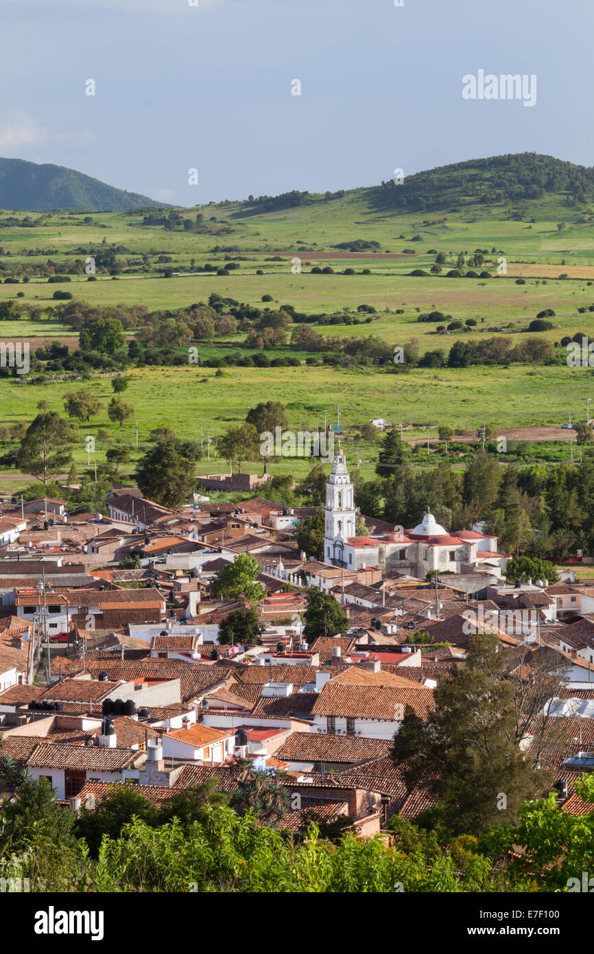 Tiled roofs and church in Tapalpa, Jalisco, Mexico. - Stock Image