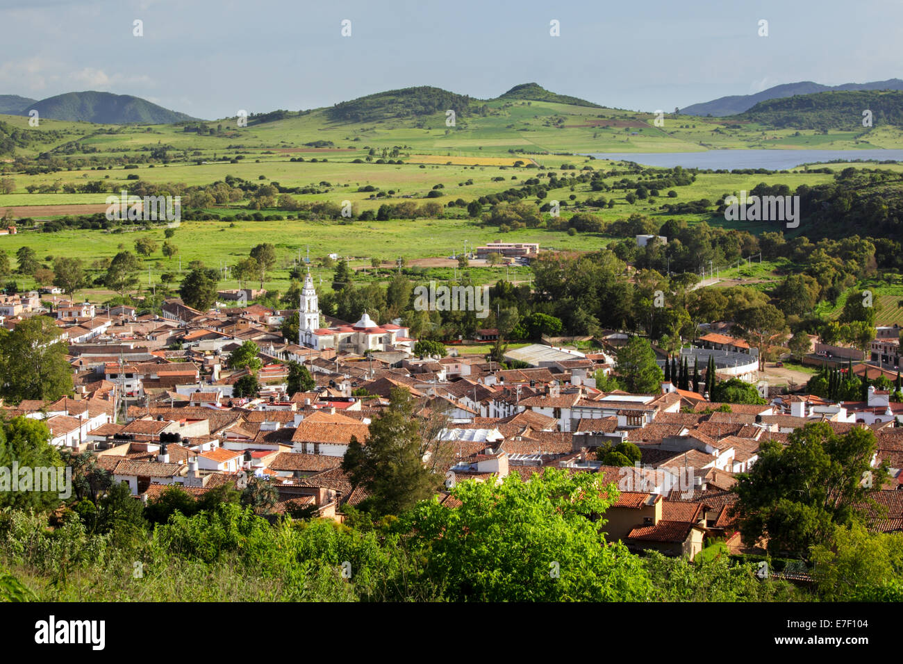 Tiled roofs and church of Tapalpa, Jalisco, Mexico. - Stock Image