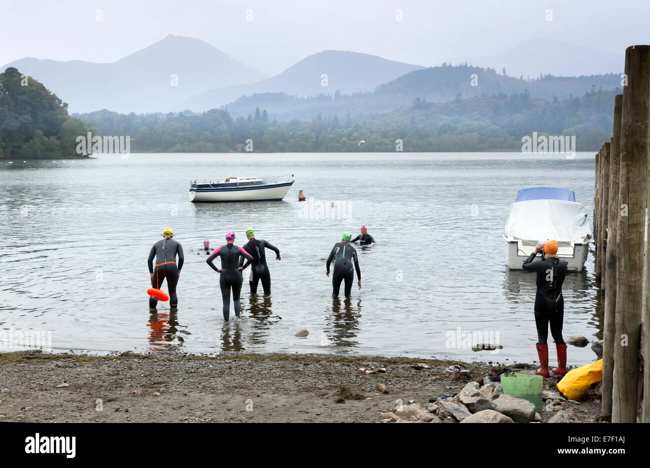 Open Water swimmers set off at Keswick ,on Lake Derwent Water, Cumbria, England. - Stock Image