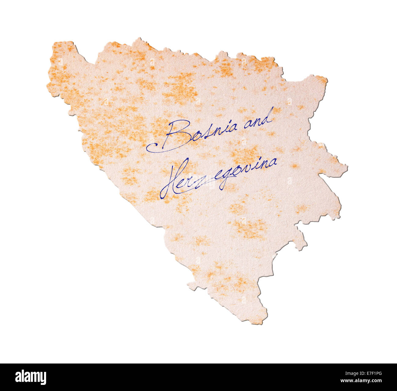 Old paper with handwriting, blue ink - Bosnia and Herzegovina - Stock Image