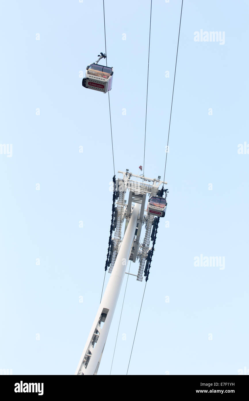 Gondola of the Emirates Air Line cable car across the river Thames in Greenwich, East London - Stock Image
