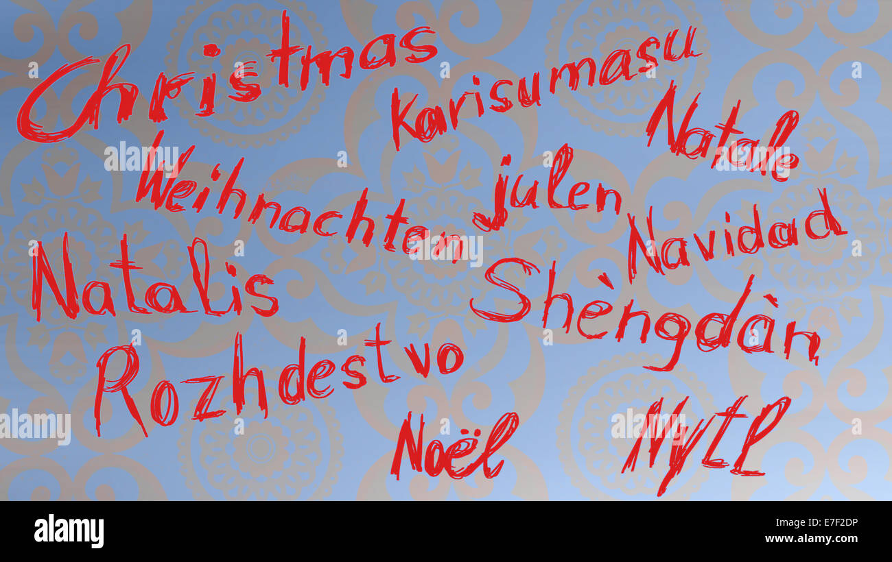 The word christmas, scribbled in different languages on pattern wallpaper - Stock Image