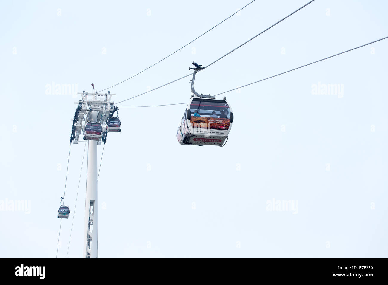 Gondolas of the Emirates Air Line cable car across the river Thames in Greenwich, East London - Stock Image