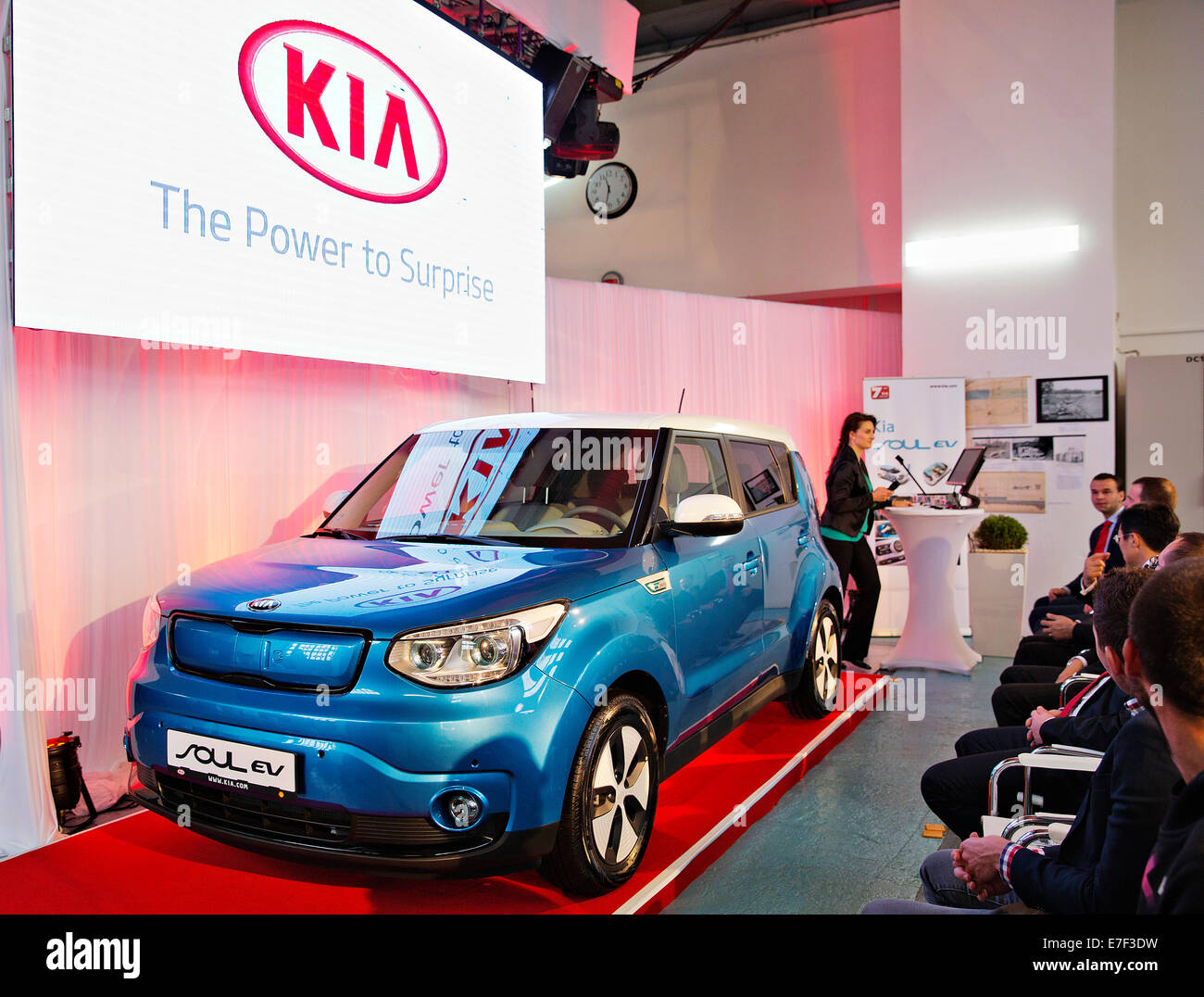 Korean automaker Kia Motors presented electric version of Kia Soul EV in Prague, Czech Republic, September 12, 2014. - Stock Image