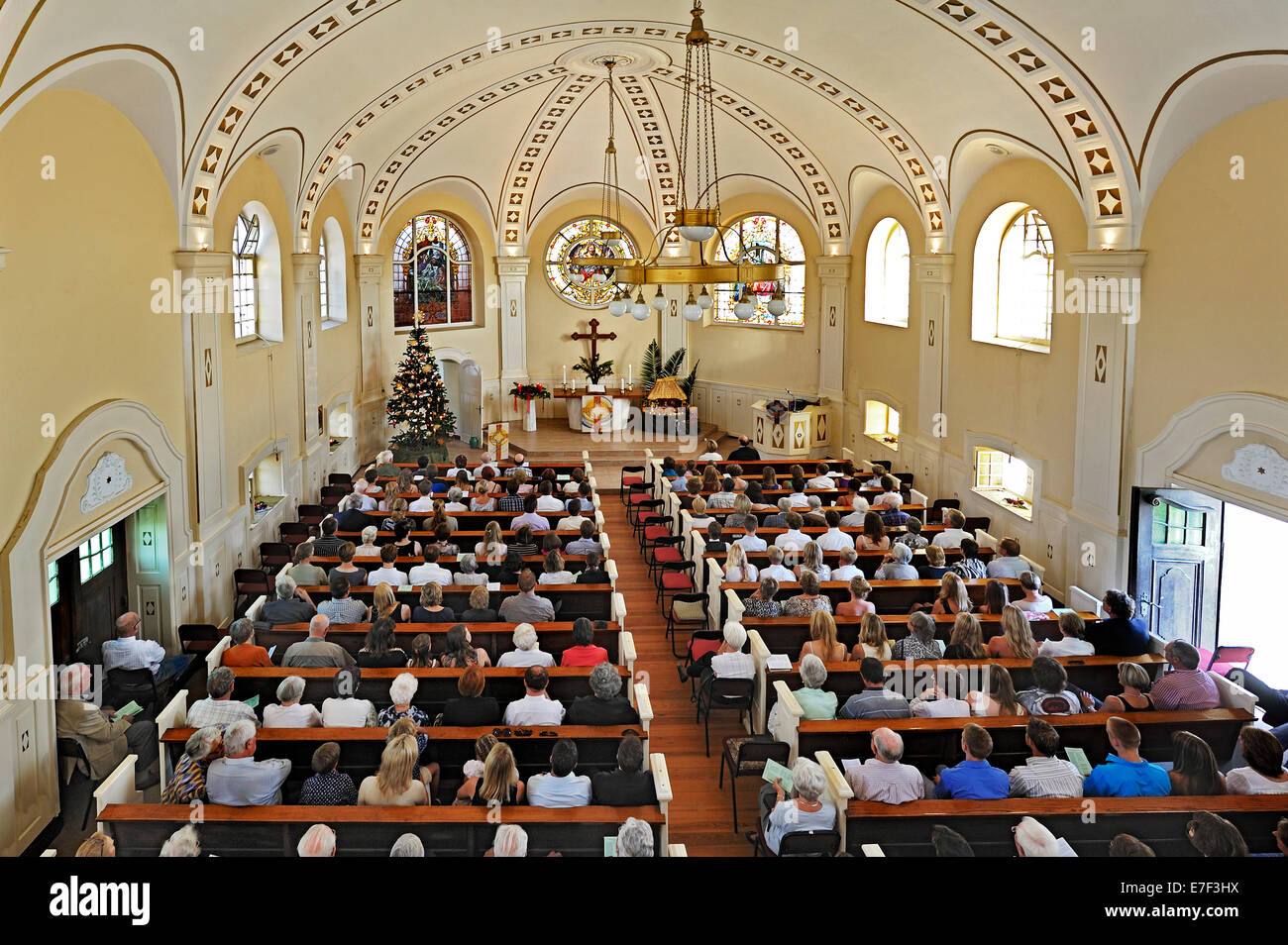 Christmas Mass, Evangelical Lutheran Church, Swakopmund, Namibia - Stock Image