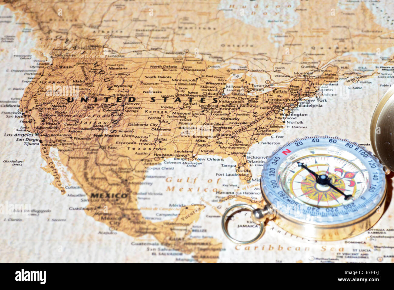 Compass on a map pointing at United States, planning a travel Stock ...