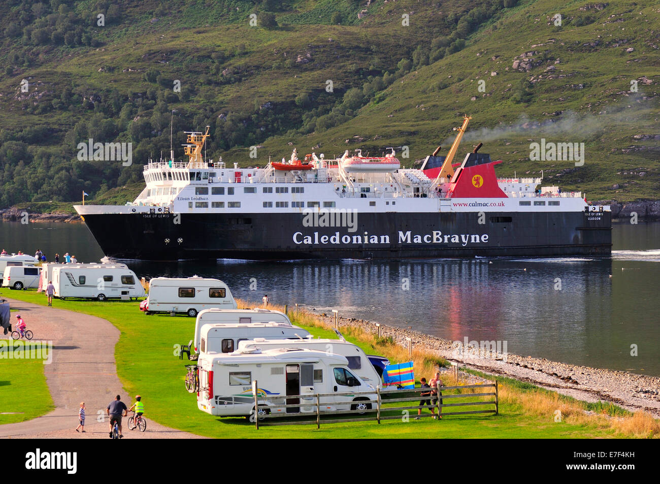 The ferry from Stornoway, Isle of Lewis in the Outer Hebrides, sailing past a camp site, Loch Broom towards Ullapool, - Stock Image