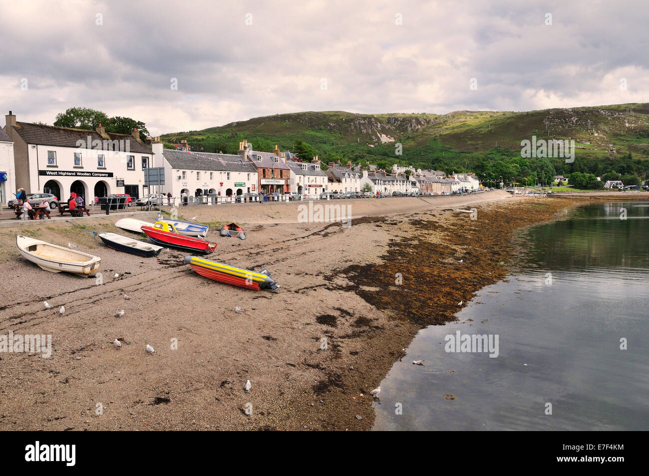 Boats on the beach of Shore Street, Ullapool, Caithness, Sutherland and Ross, Scottish Highlands, Scotland, United - Stock Image