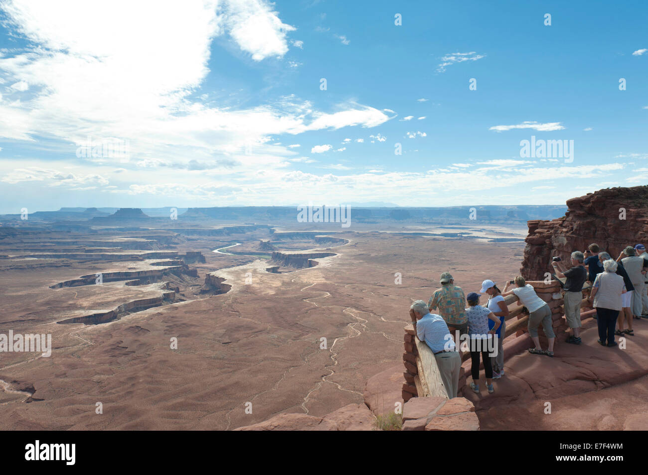 Erosion landscape, canyons, tourists at the Green River Overlook, Canyonlands National Park, Utah, USA - Stock Image