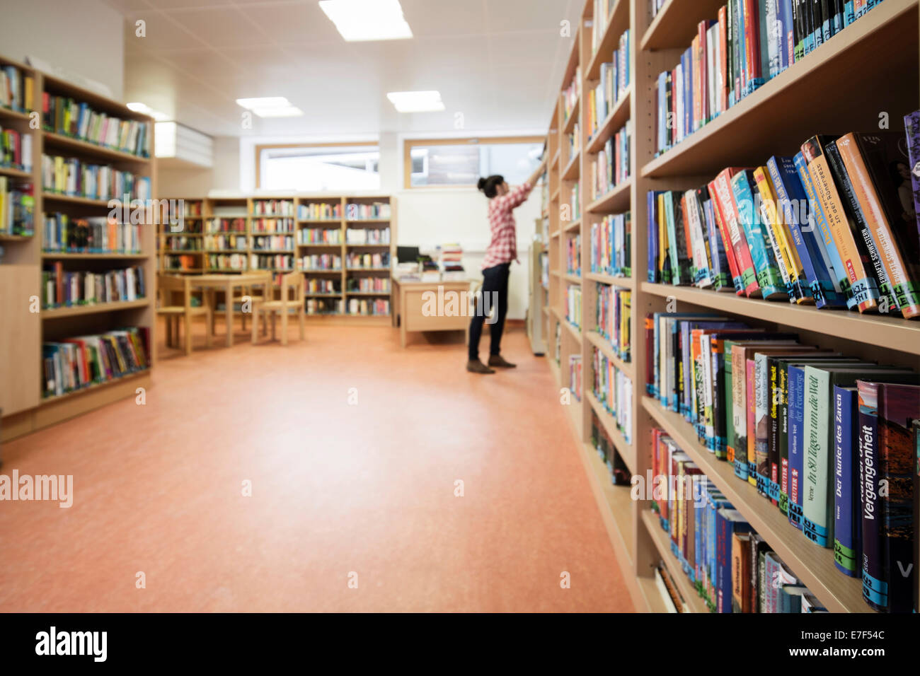 Woman looking for a book in a school library, Reith im Alpbachtal, Tyrol, Austria - Stock Image